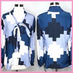 ELIZABETH MCKAY | Blue Colorblock Silk Bow Blouse